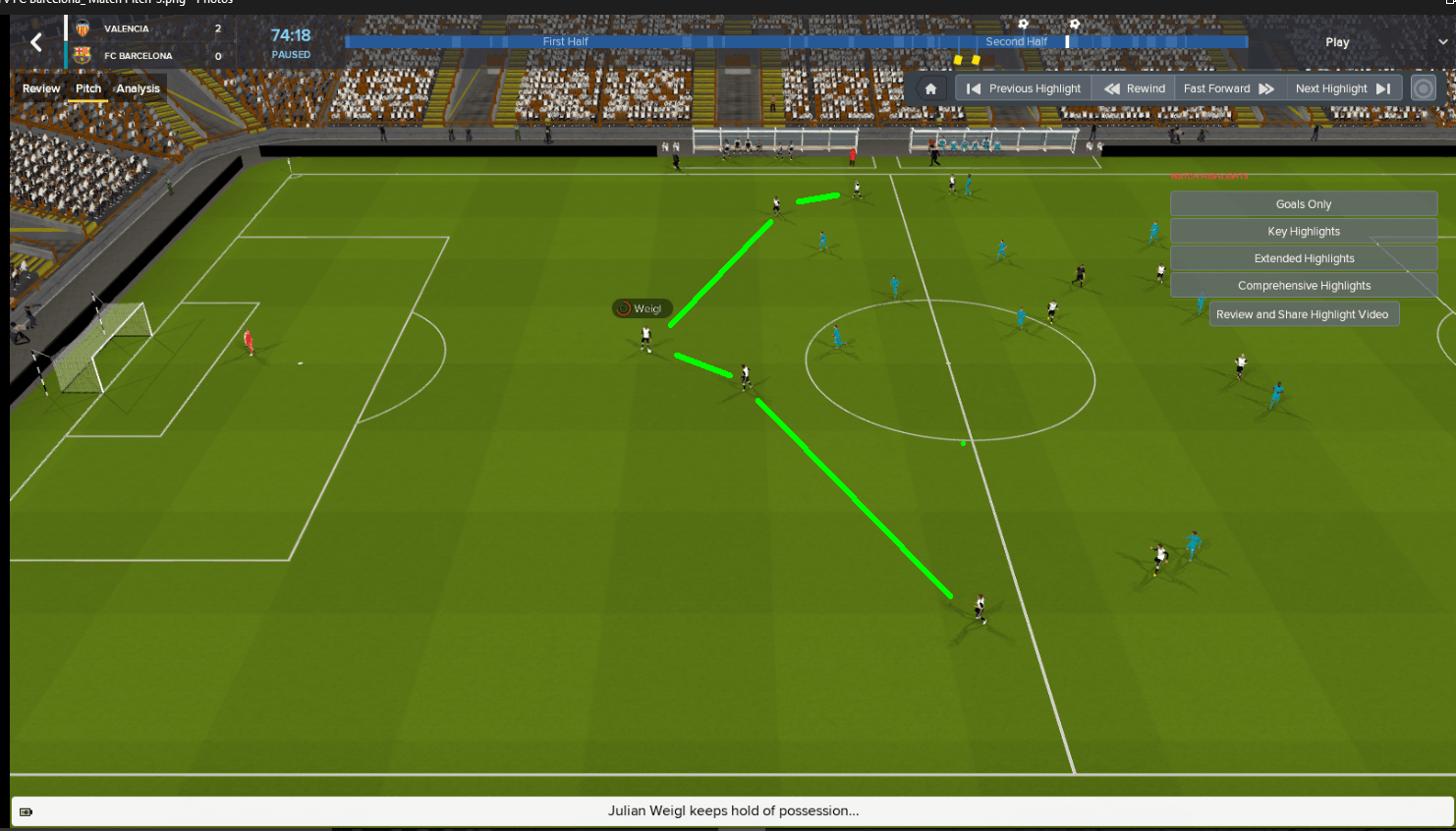 The movement of the deep lying playmaker
