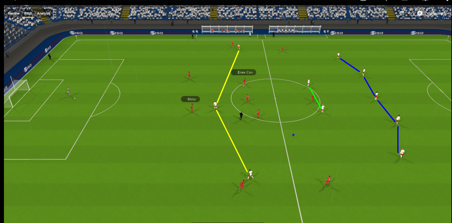 The FM18 5-2-3 formation in 3D match engine